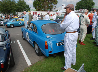 Mike Bell's GT at rest in the holding paddock at the 2014 Goodwood Revival